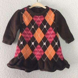 Gymboree argyle plaid sweater dress baby girl